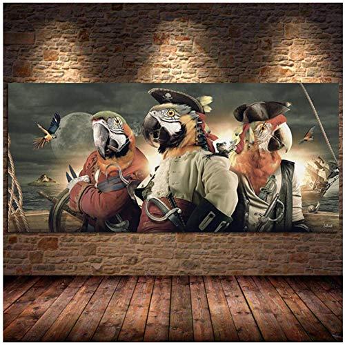 Qqwer Loro En Un Disfraz De Pirata Lienzo Pintura Carteles Impresiones Cuadros De Pared Arte Para Sala De Estar Animal Decoracin Del Hogar-50X100Cm Sin Marco