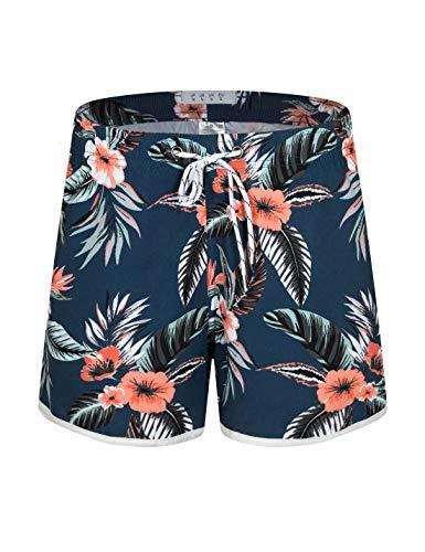 APTRO Damen Badeshorts Kurze Badehose Strand Wassersport Shorts Boardshorts UV Schutz Sommer Shorts Blumen Schwarz WS214 XL