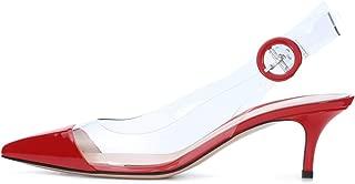 Women's PVC Slingback Pumps Pointed Toe Patent Leather Pumps Transparent Dress Shoes