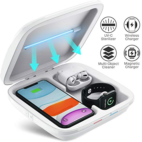 UV Sanitizer 3-in-1 Wireless Charger for Smartphone Smartwatch Earbuds Multi-Function Charging Station Cell Phone Cleaner for iOS Android Devices, Jewelry, Watch, Masks