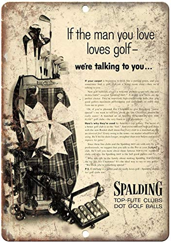 Plaque en métal Spalding Top Flight Golf Clubs and Balls Affiche publicitaire en Aluminium 30,5 x...