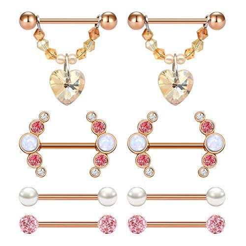 AVYRING Nipple Rings Nipplerings Piercing Women Jewelry Surgical Steel Opal CZ Nipple Shield Nipple Barbells 14g