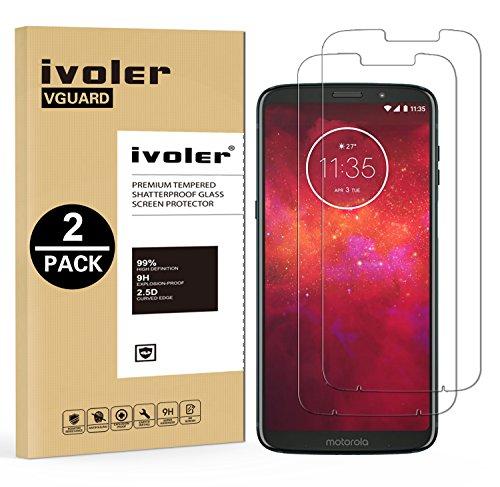ivoler [2 Stücke] Panzerglas Schutzfolie für Motorola Moto Z3 Play/Motorola Moto Z3 [9H Härte] [Anti- Kratzer] [Bläschenfrei] [2.5D Runde Kante]