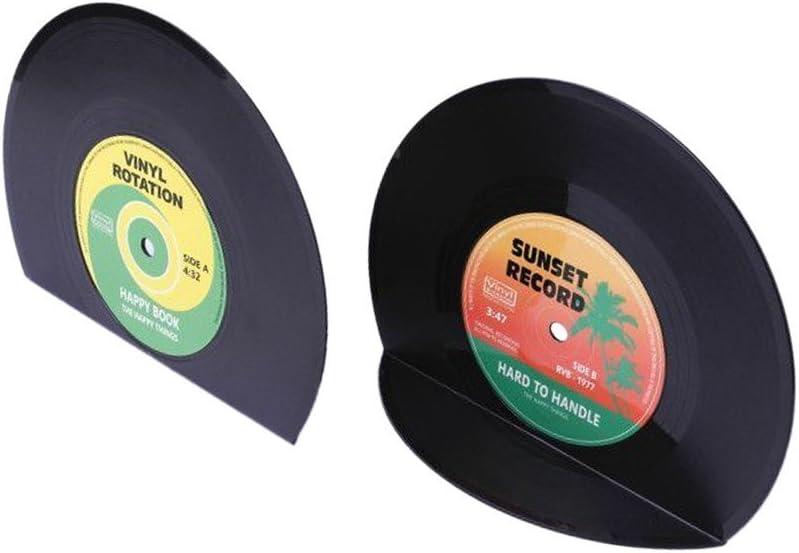 VinBee Retro Vinyl Award Bookends Black Record CD Classic Bargain Ends Book Vi