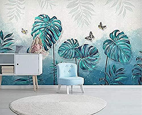 3D Wallpaper Eenvoudige wandfoto Fris groene bladeren modern aquarel behang 3D muurschildering Wall Wallpaper Wallpaper grijs muurdecoratie fotobehang 3d behang effect vlies wandfoto slaapkamer 250 x 170 cm.