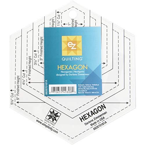 EZ Quilting - Plantilla de plástico para Tejer colchas, diseño de hexágono