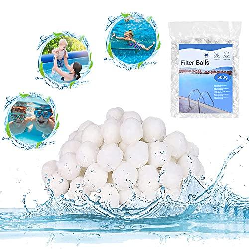 Balles Filtrantes, Boules de Filtre de Piscine 500g, Boule filtrante Lavable et réutilisable, Alternative pour Sable Filtrant de 28 kg, Convient pour la Filtration daquarium de Piscine