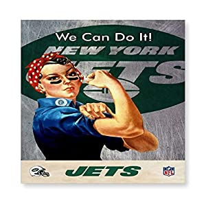 "Lyzelre Stretched and Framed Pictures on Canvas New_York_Jets Poster 15.7""x15.7"" Wall Hanging Decor for Living Room with Frame"
