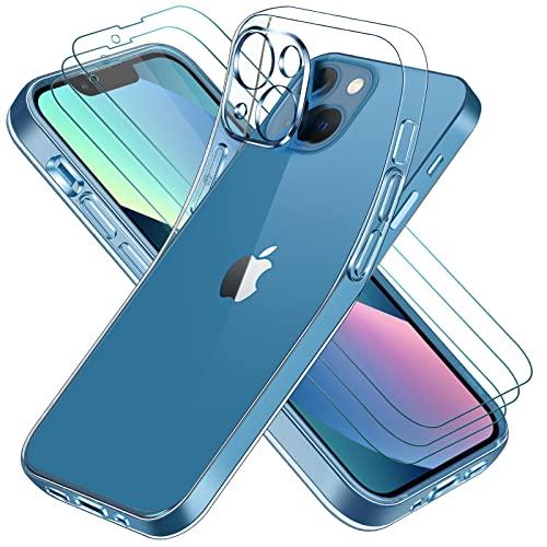 iVoler Custodia Cover Compatibile con iPhone 13 6.1 Pollici con Camera Protection e 3 Pezzi Pellicola Vetro Temperato, Ultra Sottile Morbido TPU Trasparente Silicone Antiurto Protettiva Case