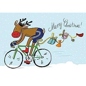 Weihnachtskarte Rentier auf Rennrad