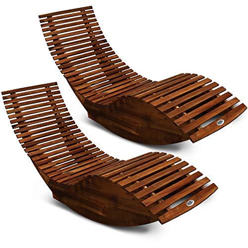 Deuba 2X Schwungliege FSC®-zertifiziertes Akazienholz Ergonomisch Wippfunktion Gartenliege Sonnenliege Relaxliege Saunaliege