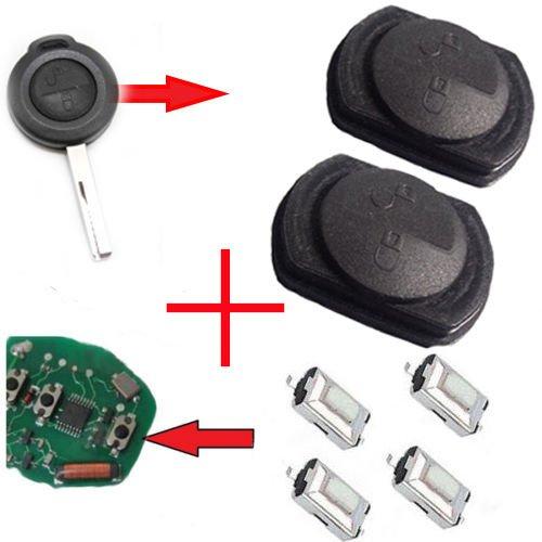 Voor Smart 454/Mitshubishi draadloze sleutels 2 x toetsenveld rubber + 4 x microschakelaar SMD-toetsen.