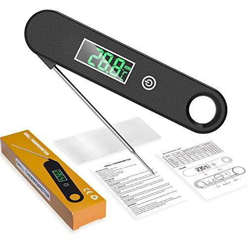 TOPOFU Thermomètre Cuisine, Thermomètre Cuisson à Lecture Instantané 2S, avec Rétroéclairage LCD, IPX6 Étanche & Aimant, Thermomètre Alimentaire pour Viande, BBQ, Steak, Huile, Lait, Vin (Noir)