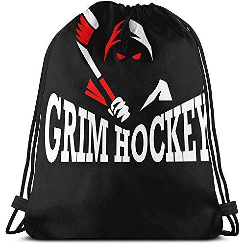 BOUIA Unisex Kordelzug Grim Sport Hockey Logo Rucksack Sport Gym Schultasche