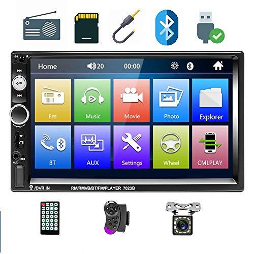 Podofo Autoradio Bluetooth, Car Stereo 2 DIN 7 pollici HD Touch Screen MP5 Player con supporto Radio FM AUX USB SD controllo del volante + Rear View Fotocamera + telecomando