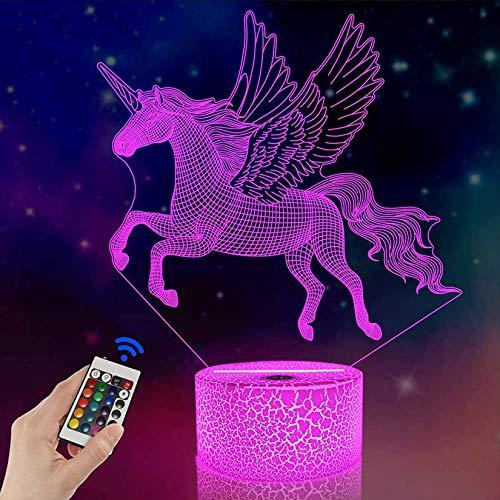 FULLOSUN - Lámpara LED de proyección de unicornio 3D, diseño de unicornio para habitación de niños, decoración del hogar, regalos de cumpleaños con 7 colores cambiantes, Art Deco, Unicornio volador