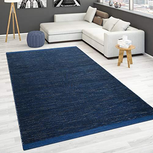 Paco Home Alfombra Tejida A Mano Tejido Plano 100% Lana Estilo Escandinavo Dif. Colores, tamaño:160x230 cm, Color:Azul