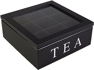 Alekssity Boîte à Thé, Boîte De Rangement pour Coffre à Thé, Organisateur De Thé en Bois à 9 Compartiments avec Couvercle ...