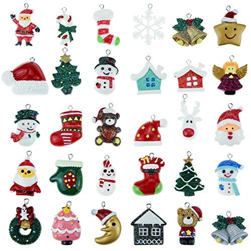 Poualss 30pcs Christmas Mini Ornaments, Resin Ornaments Miniature Ornaments for Mini Christmas Tree Decorations