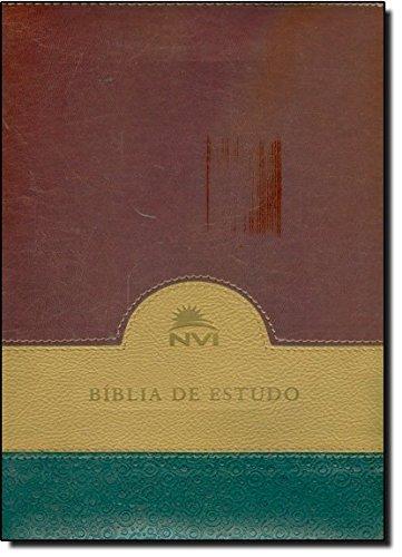 Bíblia de Estudo NVI. Verde, Bege e Vinho