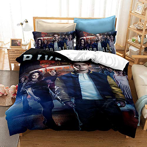 Riverdale Bedding Southside Serpents 3D Bettwäsche Set mit Reißverschluss Unisex Bettbezug mit Kissenbezug 01_200*200 cm