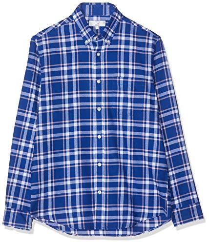 Marchio Amazon - MERAKI Camicia Uomo, Multicolore (Blue/white/pink), XL, Label: XL