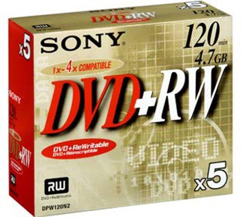 Sony 5DPW120A wiederbeschreibbare 4,7GB DVD+RW Speichermedium 4x, 120 Minuten (5er pack)