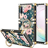 HoneyAKE Case for Samsung Galaxy Note 10+ Plus Case with Kickstand Women Girls Soft TPU Shockproof Protective Heavy Duty Cushion Reinforced Corner Cases Compatible with Galaxy Note 10+ Plus Flower