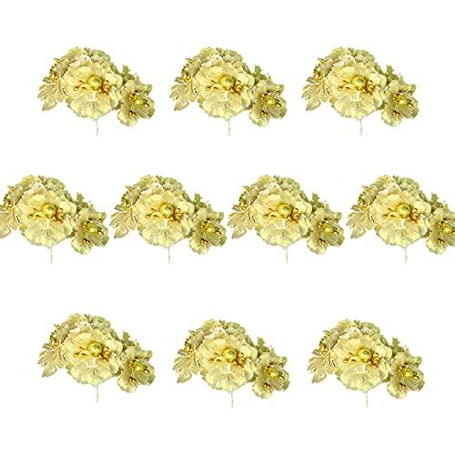 MSUIINT 60 teste di fiori di stella di Natale artificiali con steli, decorazioni fai da te per casa, matrimoni, Natale, ghirlande