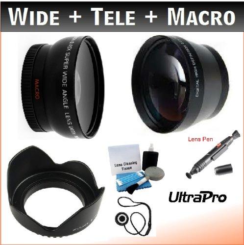 52mm Digital Pro Essential Lens Kit, Includes 2x Telephoto Lens + 0.45x HD Wide Angle Lens w/Macro + Flower Tulip Lens Hood + Lens Cleaning Pen + Lens Cap Keeper + UltraPro Deluxe Lens Cleaning Kit. For the Nikon D40, D40x, D50, D55, D60, D90s, D200, D3x Digital SLRs.