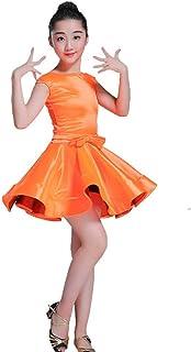ドレスプリンセスコスチューム ガールズドレススカートラテンダンスドレスステージダンスコスチュームタッセル 肌にやさしい通気性 (色 : オレンジ, サイズ : 110)