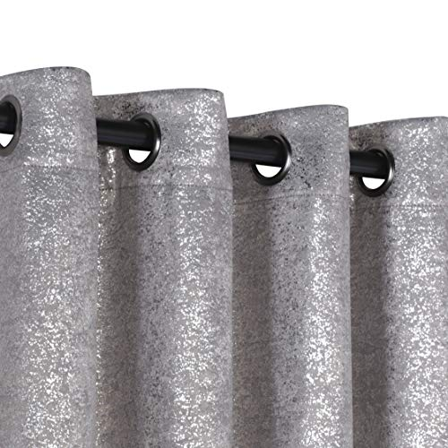 GoodGram 2 Pack Sparkle Chic Thermal Blackout Curtain Panels - Assorted Colors (Grey)