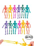 UpBrands Stretchy Toys, Party Favors for Kids, Bulk Set, 8 Glitter Colors, Kit for Easter Egg Basket Stuffers, Goodie Bags, Pinata Filler, Small Toys Classroom Prizes (48 Pack Stretchy Skeletons)