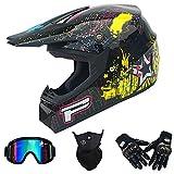 Casco Integral Completo Motocicletas de Motocross Dot Certified DH MX ATV MTB Pit Bike Rally Racing Casco Protector con Gafas Máscara Guantes Adulto (Sprint Negro Brillante),54~56cm M