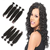 DAIMER Brazilian Deep Wave Bundles Natural Color 22 24 26 28 Inch Virgin Human Hair Weave Sew In Hair Extensions For Women 4Pcs/Pack Double Weft
