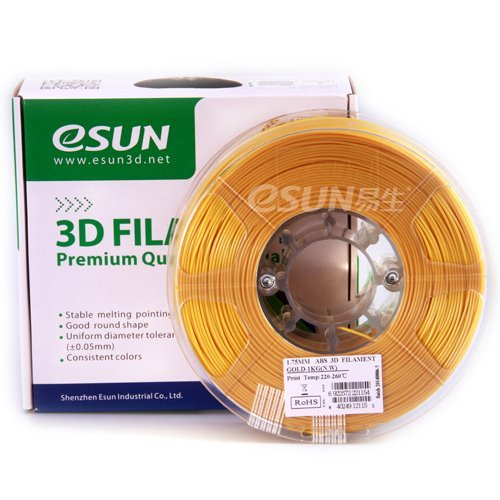 Esun ABS Gold 3mm filament 1kg/2.2lb Spool for 3D Pen/Printer. 3doodler,lulzbot,makerbot,Makergear,Reprap,Up,Cubify,Leapfrog,Solidoodle,Ultimaker,Afinia,Flashforge,Witbox,Zortrax,FDM,840249123159