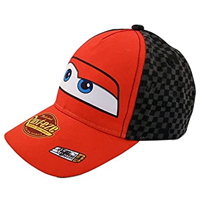 Disney Boys Cars Lightning McQueen Cotton Baseball Cap, Ages 4-7, Cars Red with Black