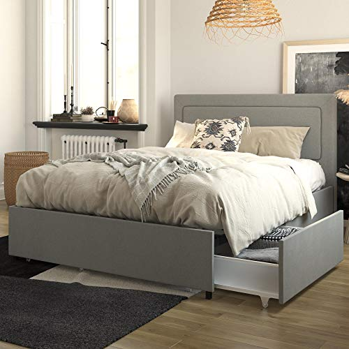REALROOMS Alden Upholstered Bed w/Storage Drawers, Queen Size, Gray