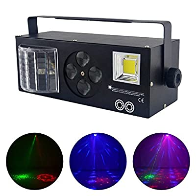 AUCD 4 In 1 Mix Effect Red Green Gobos Mix Strobe Par Lamp RGBWY Beam LED DMX Rotate Light DJ Party Club Show Holiday Stage Lighting Atmosphere Lamp XMT-132