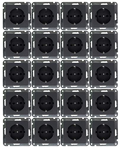 MILOS - Enchufe empotrado (20 unidades, 250 V/16 A, protección de contacto, montaje con mayor protección de contacto, antracita)