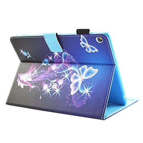 HUDDU Verträumter Schmetterling Schutzhülle für Huawei MediaPad M3 Lite 10 (10,1 Zoll) Hülle Flip Tasche Leder Smart Case Lightweight Cover mit Stand Kartenfach Magnetverschluss Notebook Lederhülle - 3