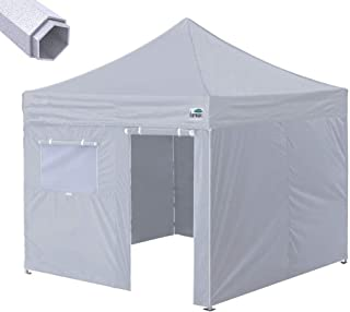 Eurmax Premium 10'x10' Ez Pop-up Canopy Tent Commercial Instant Shelter with Removable Sidewalls Bonus Wheeled Carry Bag (Grey)