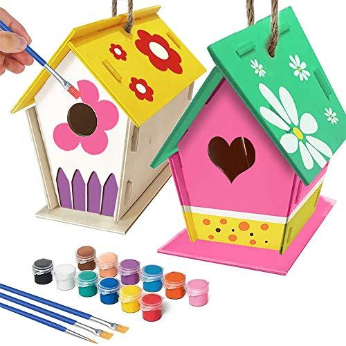 Sobotoo 2 Stück DIY Holz Vogelhaus Kits – Bauen und Malen Vogelhaus (inkl. Farben und Pinsel) Malerei Vogelhaus Kunst Handwerk Holzspielzeug für Kinder Jungen Mädchen
