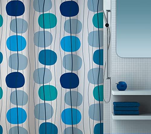 """Spirella Anti-Schimmel Duschvorhang - Anti-Bakteriell, waschbar, wasserdicht, Polyester, """"Mobile"""" 180x200cm Weiß Blau"""