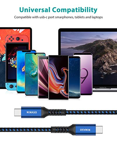 Nimaso USB C auf USB C Kabel [3-Pack/0.3M+1M+2M],USB Typ C PD Ladekabel 60W 20V/3A für Galaxy S21/S21 Ultra/S20/S10/S9,Note 10,Huawei P30,Google Pixel 3a/3a XL,iPad Pro 2020/2018,MacBook,Dell XPS 15