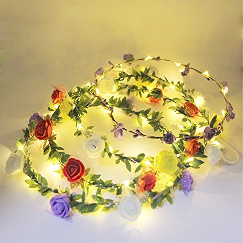 eVmu Set of 4 LED Lighted Flower Wreath Headband Crown Floral Garland Bohemia for Festival Wedding Beach Party LE01