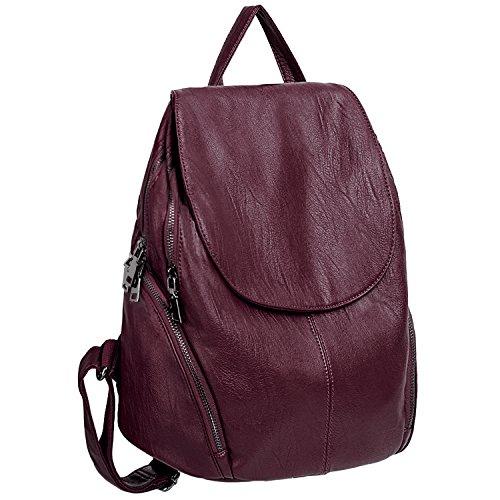 UTO Damryggsäck ryggsäck Purse PU-läder stor kapacitet dam ryggsäck axelväska, Rot2, L,