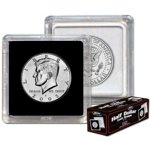 BCW 1-CS-HDLR Bundle of 25 2X2 Coin Snap Holder Half Dollar