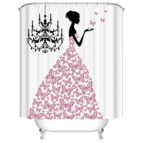 Kronleuchter Pink Print Badezimmer Mädchen Duschvorhang Stoff Wasserdichtes Polyester Mit Haken Duschvorhang, 120x180cm