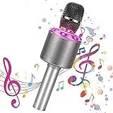 Bearbro Micrófono Karaoke Bluetooth,Máquina Portátil Karaoke,4 en 1 Microfono Inalámbrico Portátil con Luces LED Hogar KTV FfiestasNiños...